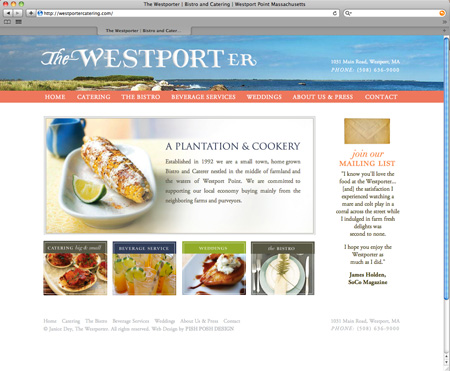The Westporter - Restaurant Website Design